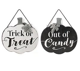 TRICK OR TREAT/OUT OF CANDY SIGN