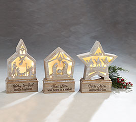 LIGHT UP CHRISTMAS STORY SHELF SITTERS