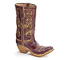 BURGUNDY/BROWN RESIN COWGIRL BOOT VASE