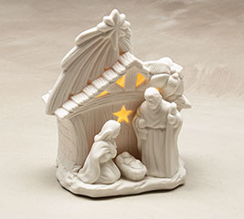 MATTE WHITE HOLY FAMILY LIGHTED CRECHE