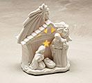 MATTE WHITE HOLY FAMILY LIGHTED CRECHE
