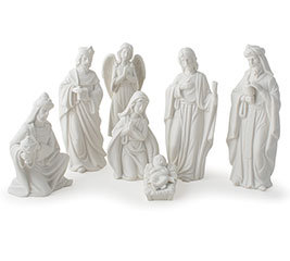 LARGE SOLID MATTE WHITE NATIVITY SET