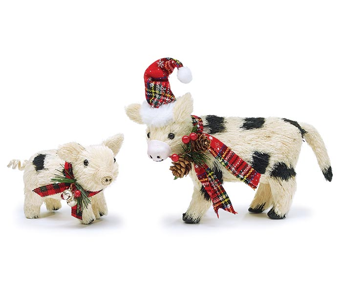 HOLIDAY BLACK  WHITE COW AND PIG