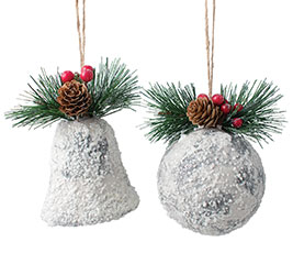 SNOW BELL  BELL ORNAMNET WITH GREENERY