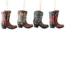 ASSORTED SET OF COWBOY BOOT ORNAMENTS