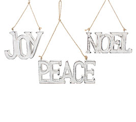 SILVER WOOD JOY/PEACE/NOEL ORNAMENTS