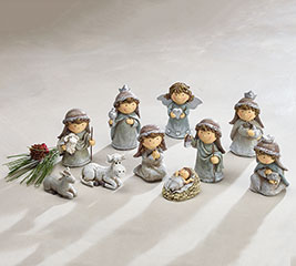 CHILDREN'S NATIVITY SET IN SILVER TONE
