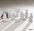 8 PIECE WOOD NATIVITY IN SILVER FINISH