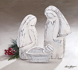 3 PIECE SILVER WOOD HOLY FAMILY NATIVITY