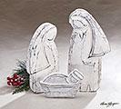 3 PIECE SILVER WOOD HOLY FAMILY NATIVITY