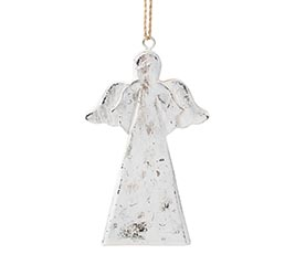 WOODEN ANGEL ORNAMENT IN SILVER FINISH