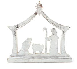 SILVER WEOOD NATIVITY SHELF SITTER