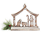 WHITEWASHED WOOD NATIVITY WITH ARCH