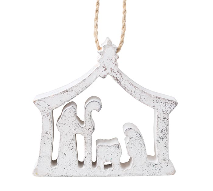 SILVER WOOD NATIVITY WITH ARCH ORNAMENT