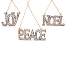 WHITEWASHED WOOD PEACE/JOY/NOEL ORNAMENT