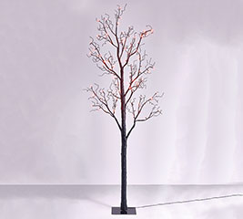 TALL BLACK TREE WITH ORANGE LED LIGHTS