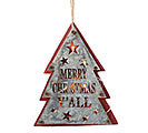 WOOD AND TIN LIGHTED TREE SHAPE ORNAMENT