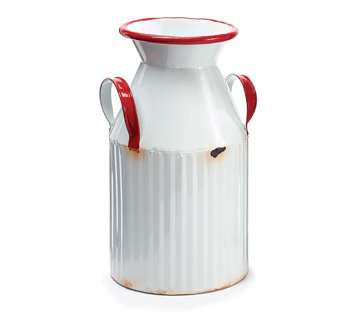 DISTRESSED WHITE JUG W/ RED RIM  HANDLE