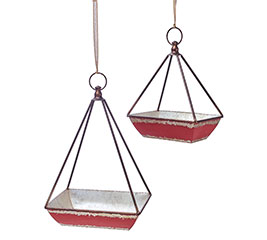 RED DISTRESSED HANGING TIN PLANTER