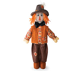 STANDING SCARECROW WITH ORANGE HAIR