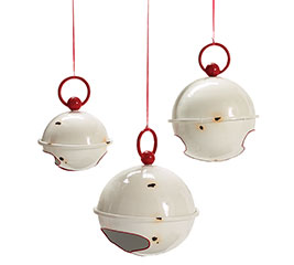 RUSTIC WHITE  RED ROUND JINGLE BELL SET