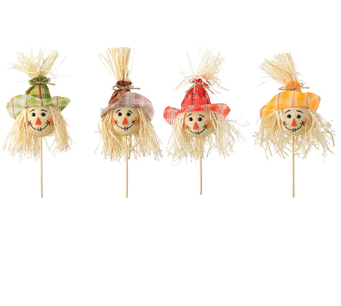SCARECROW HEAD PICK WITH ASTD PLAID HATS