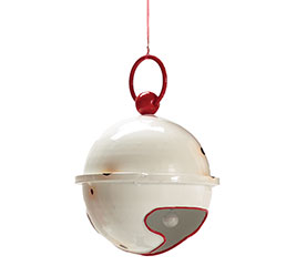 WHITE  RED ROUND JINGLE BELL ORNAMENT