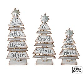 SLAT WOOD TREES WITH ASSORTED MESSAGES