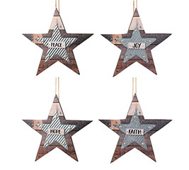 STAR ORNAMENTS WITH ASSORTED MESSAGES