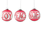 RED  WHITE ORNAMENTS: JOY, NOEL, PEACE