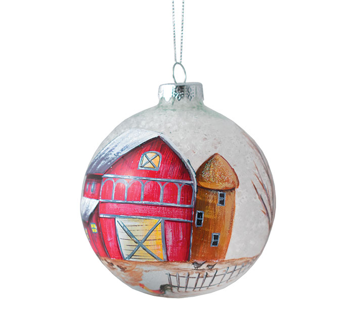 "4"" RED BARN ROUND GLASS ORNAMENT"