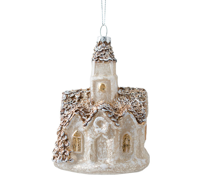 WHITE  SILVER GLASS CHURCH ORNAMENT