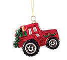 RED TRACTOR ORNAMENT WITH GIFTS  WREATH