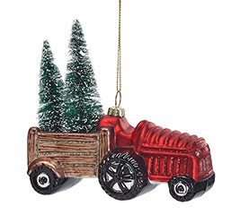 RED GLASS TRACTOR WITH TRAILER ORNAMENT