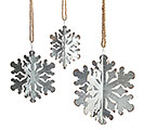 GALVANIZED TIN SNOWFLAKES IN VARIED SIZE