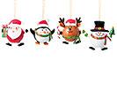 CHUBBY CHRISTMAS CHARACTER ORNAMENT ASTD