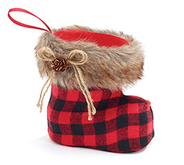 SANTA BOOT SHAPED VASE RED/BLACK PLAID