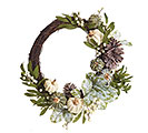 FALL WREATH W/ FROSTED PUMPKINS/PINECONE