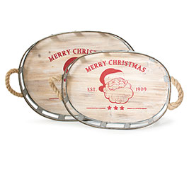 CHRISTMAS NESTED TRAYS WITH SANTA CLAUS
