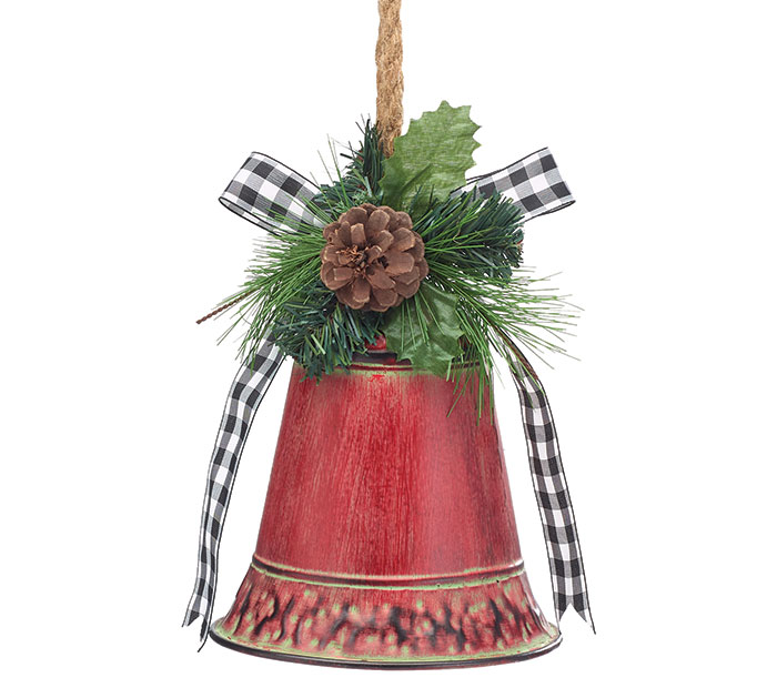RED DISTRESSED BELL ORNAMENT