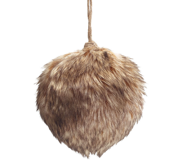 "5"" ROUND BROWN FUR ORNAMENT"