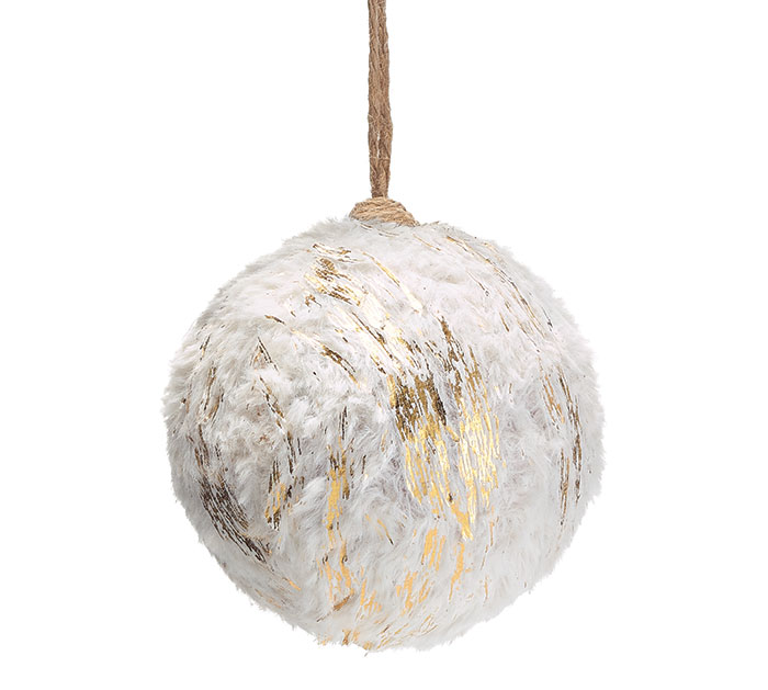 "5"" ROUND WHITE  GOLD FUR ORNAMENT"