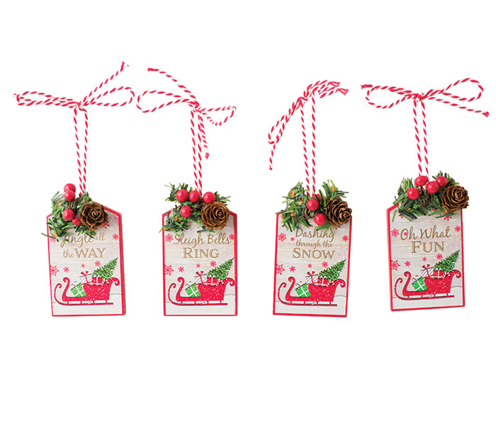TAG SHAPE ASSORTED MESSAGE ORNAMENTS
