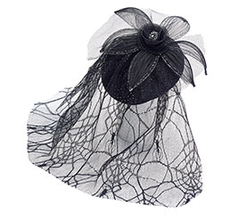 HEADPIECE WITH LACE VEIL AND CLIPS