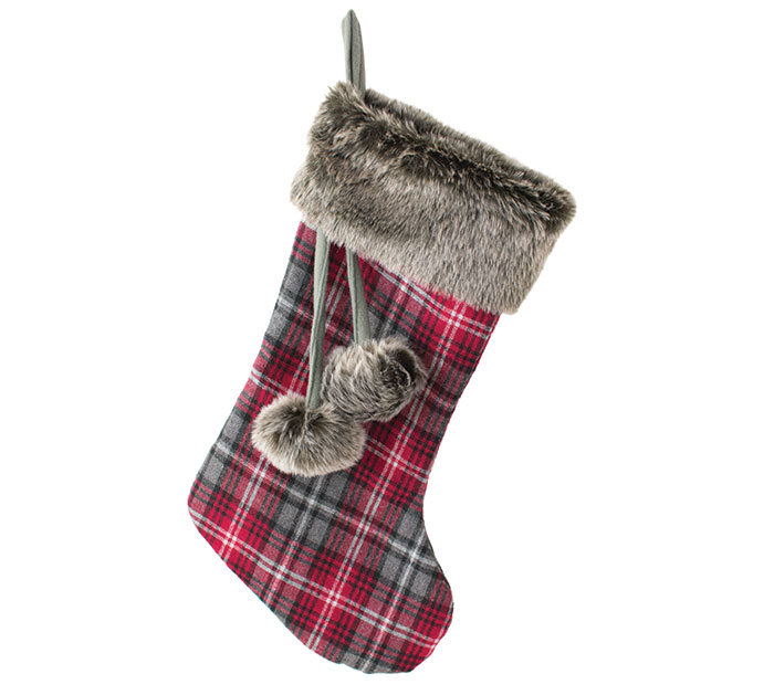 "20"" RED/GRAY PLAID STOCKING W/FUR CUFF"