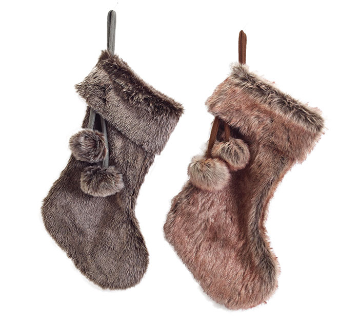 """21"""" ASSORTED FAUX FUR STOCKINGS"""