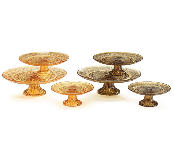 FALL GLASS CAKE PLATE SET HAND WASH ONLY