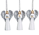WHITE ANGEL WITH SILVER ACCENT ORNAMENT