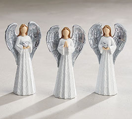WHITE ANGEL WITH SILVER WINGS RESIN