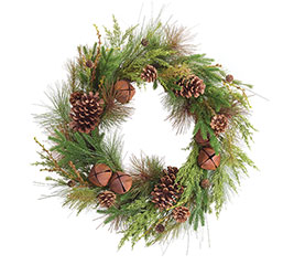WREATH WITH RUSTIC BELLS AND GREENERY